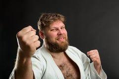 Bearded karate fighter Stock Photos