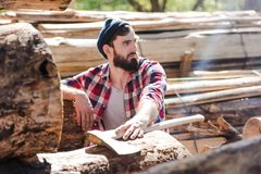 bearded lumberjack in checkered shirt with axe looking away stock image