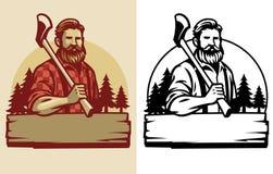 Free Bearded Lumberjack Mascot Hold The Axe Stock Photography - 161743512