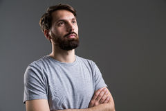 Bearded male crossed arms Stock Images