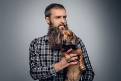 Bearded male dressed in a plaid shirt holds  badger dog. Urban bearded male dressed in a plaid shirt holds a cute badger dog Royalty Free Stock Photo