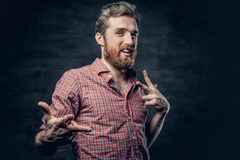 Bearded male dressed in a red fleece shirt makes conversation. Studio portrait of positive blond bearded male dressed in a red fleece shirt makes conversation royalty free stock photo
