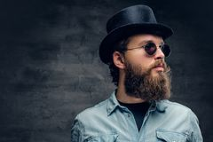 Bearded male in sunglasses and cylinder hat. Portrait of serious, bearded male in sunglasses and cylinder hat Royalty Free Stock Photography