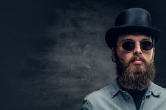 Bearded male in sunglasses and cylinder hat. Portrait of serious, bearded male in sunglasses and cylinder hat Stock Photography