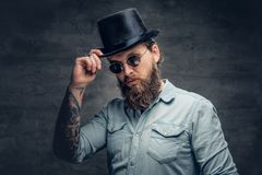 Bearded male in sunglasses and cylinder hat. Portrait of serious, bearded male in sunglasses and cylinder hat Stock Image