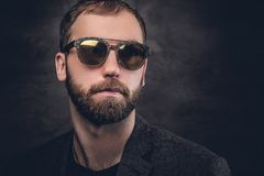 Bearded male in sunglasses. Portrait of bearded male in a suit and sunglasses Stock Image