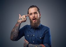Bearded male with tattoos on arms. Bearded male with tattoos on arms, dressed in denim shirt over grey background Royalty Free Stock Image