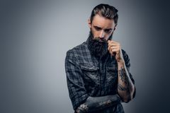 Bearded male with tattoos on his arms. Portrait of bearded male with tattoos on his arms, dressed in a plaid flannel shirt over grey vignette background Royalty Free Stock Photo