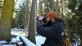 A bearded male traveler photographer with his camera in the winter forest takes pictures of nature. Travel concept for stock video footage
