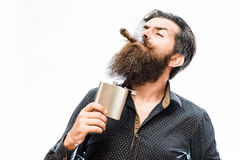 Bearded man with alcoholic beverage Royalty Free Stock Photo