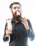 Bearded man with alcoholic beverage Stock Photos