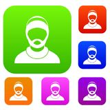 Bearded man avatar set collection Stock Image
