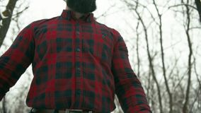 Bearded man with axe stock footage