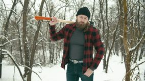 Bearded man with axe stock video