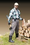 Bearded man with an axe stock image