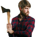 Bearded man with axe Stock Photography