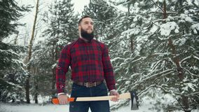 Bearded man with axe Royalty Free Stock Image