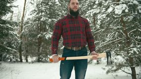 Bearded man with axe stock video footage