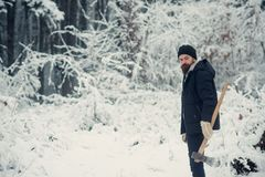 Bearded man with axe in snowy forest. stock images