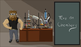 A bearded man on the background of the laboratory Royalty Free Stock Images
