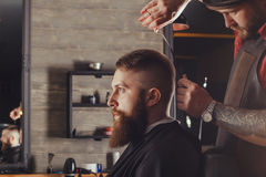 Bearded Man In Barbershop. Serious Young Bearded Man Getting Haircut By Barber. Barbershop Theme royalty free stock photos