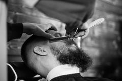 Bearded Man In Barbershop. Young Bearded Man Getting Beard Haircut With A Straight Razor By Barber. Barbershop Theme Stock Photo