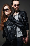 Bearded man and beauty girl couple Royalty Free Stock Image