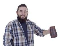 Bearded man with beer mug Royalty Free Stock Photo
