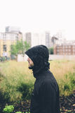 Bearded Man in Black Hoodie Jacket Stock Images