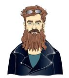 A bearded man in black leather jackets. Moto Biker or fan of rock music. Vector portrait illustration, isolated on white stock illustration