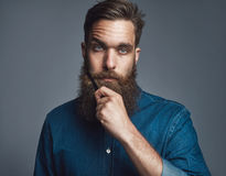 Bearded man in blue denim with serious expression Royalty Free Stock Photo