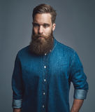 Bearded man in blue denim with serious expression Stock Photo