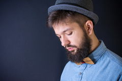 Bearded man in a blue shirt Royalty Free Stock Image