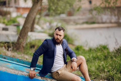 Bearded man on the boat Royalty Free Stock Photos
