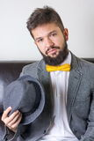 Bearded man with a bow tie Royalty Free Stock Photo