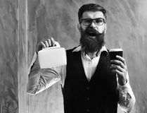 Bearded man, brutal caucasian hipster holding coffee and meal box. Bearded man, long beard. Brutal caucasian unshaven amused hipster with glasses and moustache royalty free stock images
