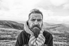 Bearded man, brutal caucasian hipster with moustache cold on mountain. Bearded man, long beard, brutal caucasian hipster with moustache on serious face, unshaven royalty free stock photo