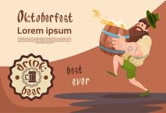 Bearded Man Carry Beer Barrel Oktoberfest Festival Banner Royalty Free Stock Image
