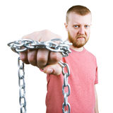 Bearded man with a chain around the fist Stock Image