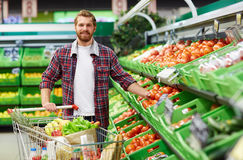 Bearded man choosing tomatoes Royalty Free Stock Images