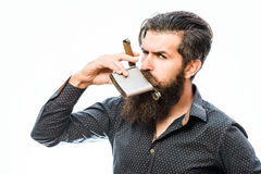 Bearded man with cigar Royalty Free Stock Images