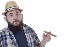 Bearded man with cigar Royalty Free Stock Photos
