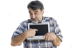 Bearded man with computer Royalty Free Stock Images