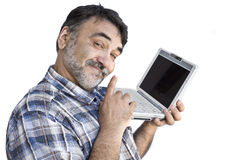 Bearded man with computer Stock Photo