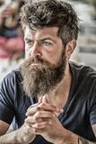 Bearded man concentrated face. Hipster with beard thoughtful expression. Thoughtful mood concept. Making important life stock images