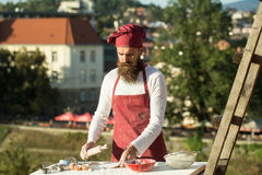 Bearded man cook chef Stock Photo