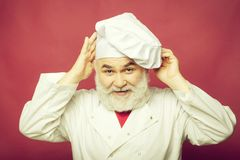 Cook man in chef hat royalty free stock photography