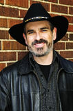 Bearded man in cowboy hat Royalty Free Stock Photography