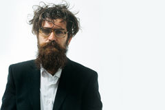 Bearded man crazy scientist of professor in glasses Stock Images