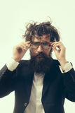 Bearded man crazy scientist of professor in glasses Stock Photo